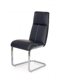 Czarne krzesło z ekoskóry na płozach K229