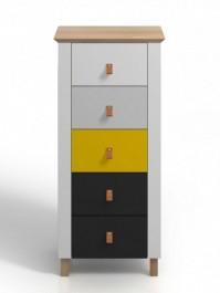 Wysoka drewniana komoda z szufladami Skandica Vaxholm 5S