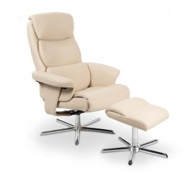 Tapicerowany ekoskórą fotel z podnóżkiem Mayer