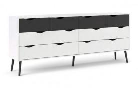 Komoda Oslo 4+4S biało-czarna