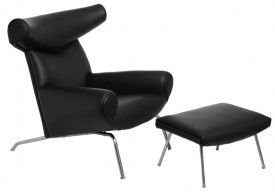 Skórzany fotel z podnóżkiem Wół