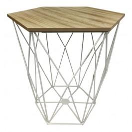 Designerski stolik na metalowej podstawie Boks