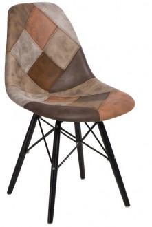 Krzesło P016W insp. DSW Patchwork na drewnianych nogach