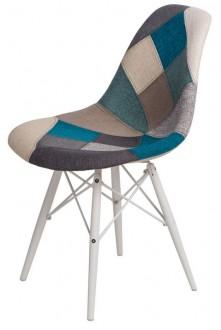 Krzesło P016W insp. DSW black/white Patchwork niebiesko/szary