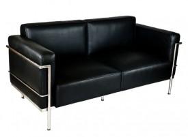 Czarna skórzana sofa dwuosobowa Soft GC