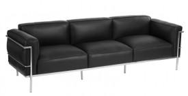Czarna skórzana sofa trzyosobowa Soft GC