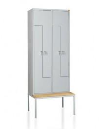 Metalowa szafa ubraniowa z ławeczką BHPL/4Ł