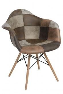 Krzesło P018W insp. DAW Patchwork beżowo/brązowy