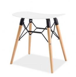 Designerski stołek na drewnianych nogach Pepe