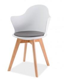 Krzesło z poduszką i podłokietnikami na drewnianych nogach Matteo III
