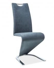 Krzesło tapicerowane tkaniną na chromowanej płozie H090