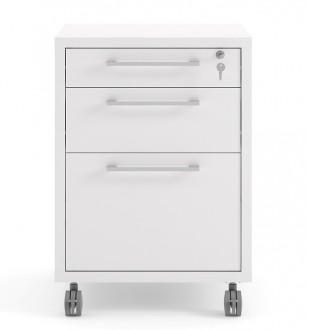 Kontenerek 3-szufladowy na kółkach Prima 3 biały