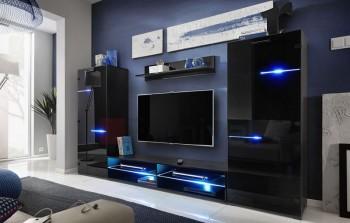 Meblościanka z oświetleniem LED Modern czarny/czarny połysk