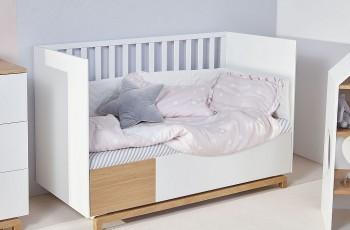 Łóżeczko dziecięce z szufladą i funkcją tapczanika Nomi 70x140
