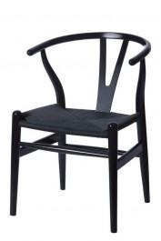 Drewniane krzesło do jadalni Wishbone czarny