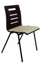 Krzesło sklejkowe z tapicerowanym siedziskiem Karla