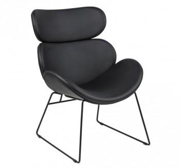 Czarny fotel z ekoskóry Cazar
