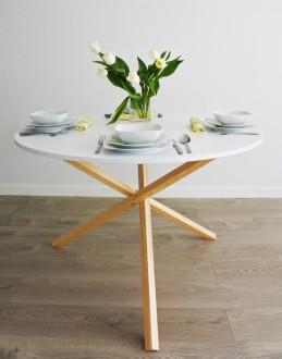 Okrągły stół do jadalni Triple 115 w stylu skandynawskim