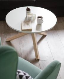 Stolik kawowy z okrągłym blatem Triple 68 w stylu skandynawskim
