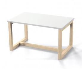Stolik kawowy z białym blatem Minides 80 w stylu skandynawskim