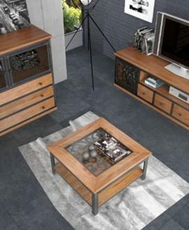 Drewniany stolik do salonu z półką Sassari