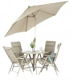 Zestaw mebli ogrodowych z parasolem Tudor