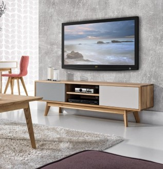 Drewniana szafka RTV w stylu skandynawskim Stilo