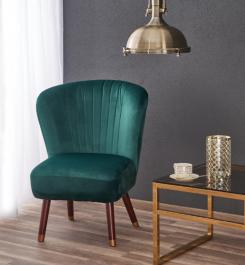 Fotel do salonu z miękkim siedziskiem na drewnianych nogach Lanister