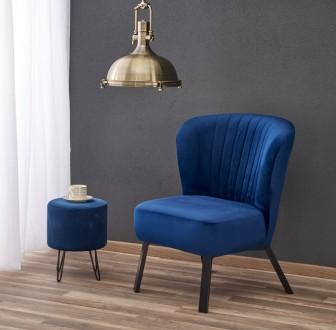 Fotel do salonu z miękkim siedziskiem na metalowych nogach Lanister