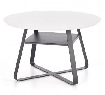 Okrągły stolik z lakierowanym blatem i półką Redo