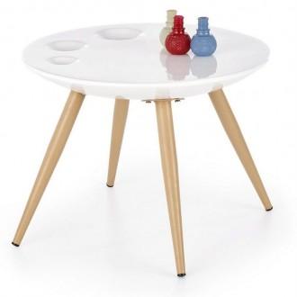 Okrągły stolik z lakierowanym blatem Marita