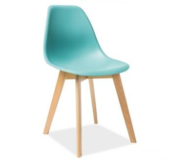 Krzesło z tworzywa na bukowych nogach Moris