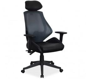 Krzesło biurowe z oparciem z siatki i regulowanymi podłokietnikami Q-406