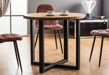 Okrągły stół z dębowym blatem Rolf