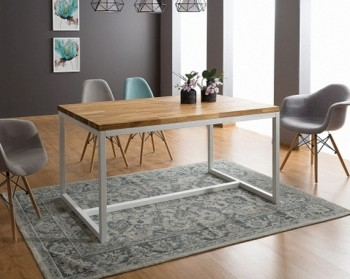 Stół w stylu industrialnym Loras A 120/80 biały