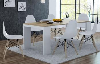 Rozkładany stół i biurko 2w1 Lille w stylu skandynawskim dąb craft złoty / biały