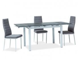 Rozkładany stół z blatem w imitacji kamienia Turin czarny/biały