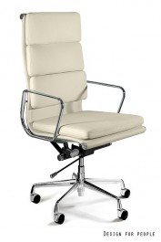 Krzesło obrotowe tapicerowane skórą naturalną Wye HL beż