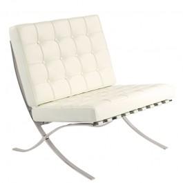 Pikowany fotel ze skóry naturalnej Barcelon