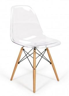 Transparentne krzesło na bukowym stelażu Ice Wood