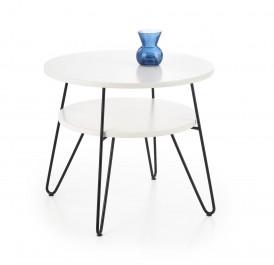 Okrągły stolik kawowy z półką Ezra