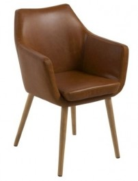Tapicerowane krzesło z poduszką Nora PU ekoskóra