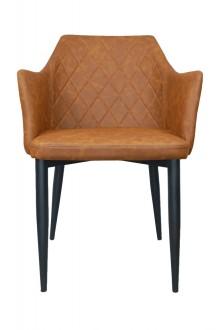 Krzesło z ekoskóry z pikowanym oparciem Emma Vintage PU