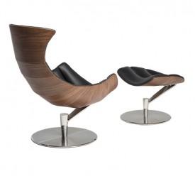 Skórzany fotel wypoczynkowy z podnóżkiem Sydney