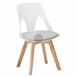 Krzesło z tworzywa na dębowych nogach Cordoba