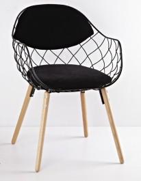 Krzesło z ażurowym siedziskiem i poduszkami Oslo