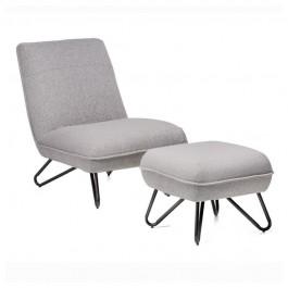 Tapicerowany fotel wypoczynkowy Malta z podnóżkiem
