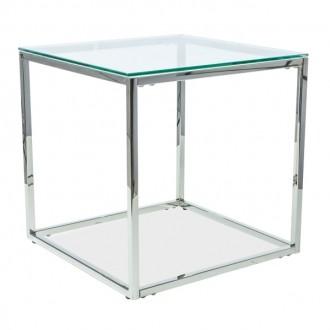 Stolik pomocniczy ze szklanym blatem Hilton B
