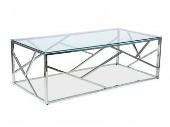 Ława do salonu ze szklanym blatem na srebrnej podstawie Escada A