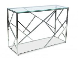 Konsola ze szklanym blatem na srebrnej podstawie Escada C